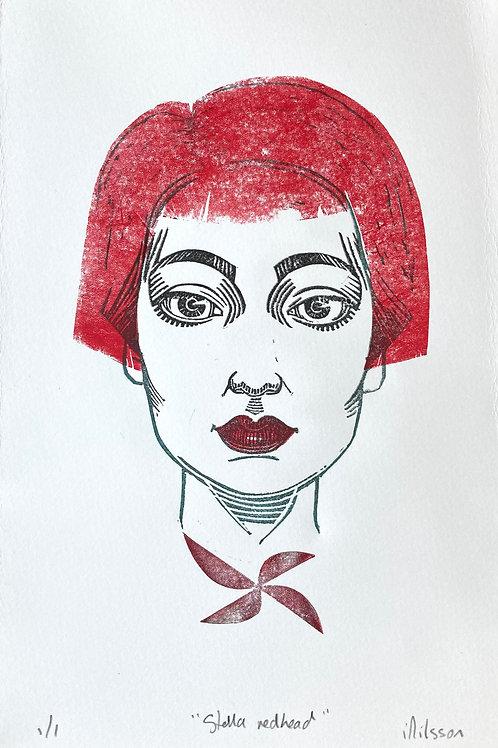 Stella redhead - one-off handmade linocut print