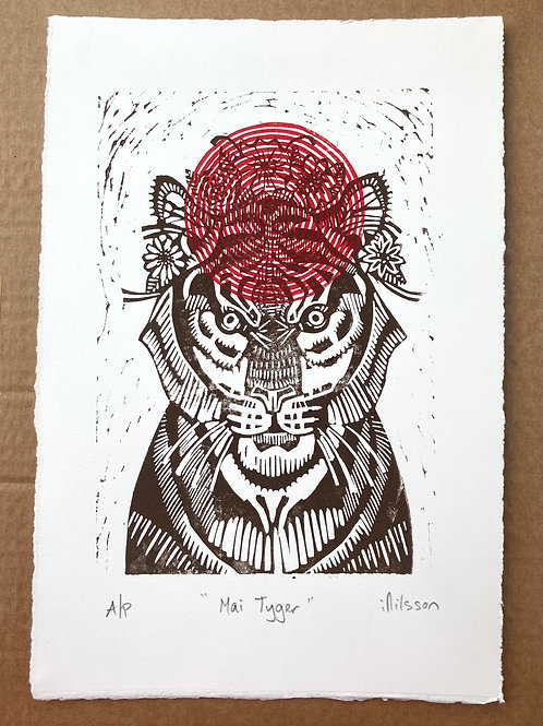 Mai Tyger crowned - handmade linocut print