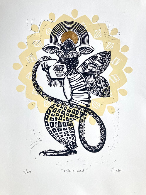 Wild-e-Beest handmade lino cut print by Ingrid Nilsson, mixed up, imaginary