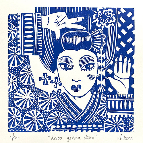 Disco Geisha Deux - hand made lino print