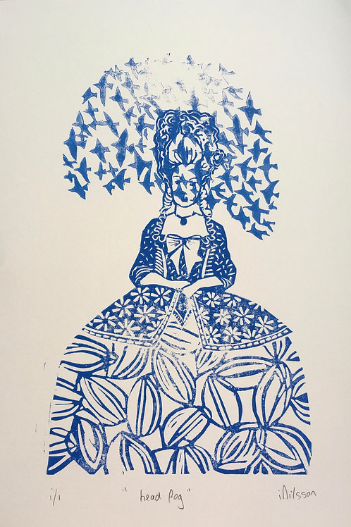 Head For 1/1 mono issue lino print