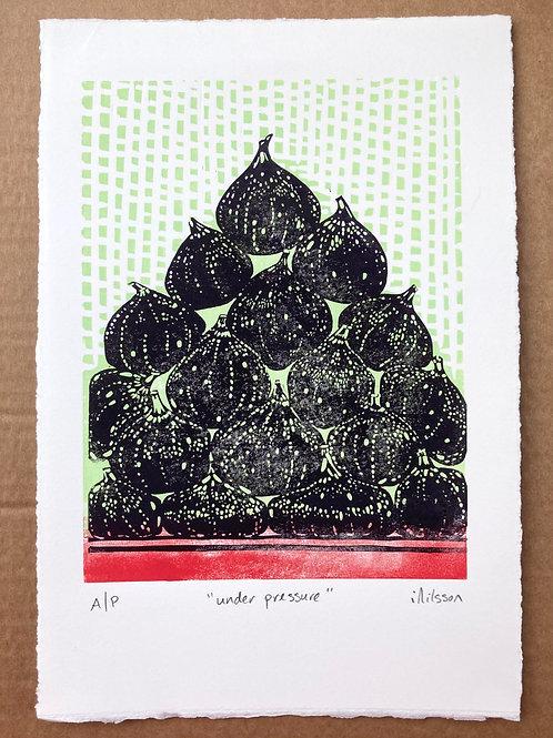 Under pressure -handmade linocut print