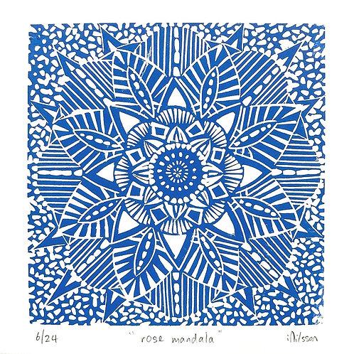 Rose Mandala lino cut print