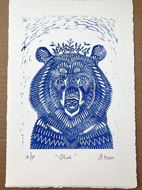 Olive (blue) handmade lino cut print