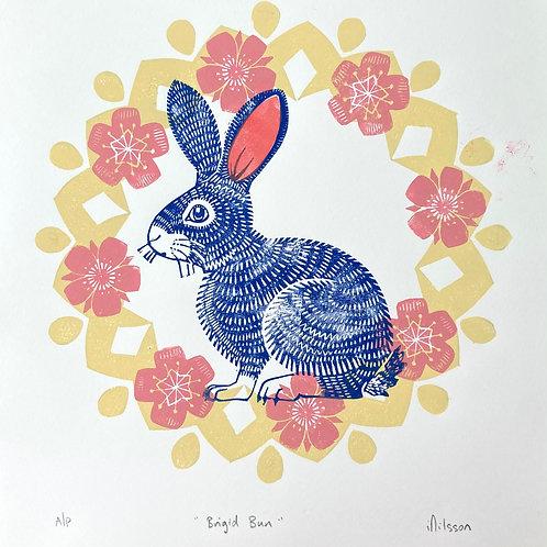 Brigid Bun - handmade linocut print by Ingrid Nilsson, rabbit, blossom, easter