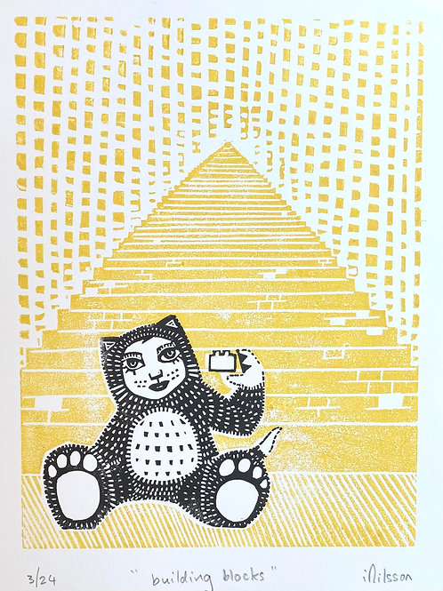 Building blocks - handmade lino cut print