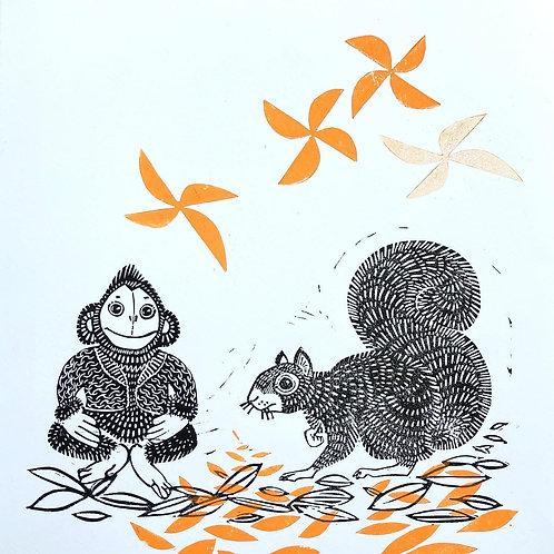 Fall friends -handmade linocut print
