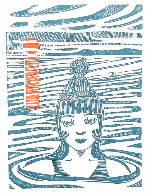 Sunrise swim- swimmer, hand made, lino cut print, by Ingrid Nilsson:  wall art