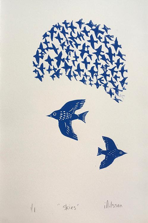 Skies - handmade and printed lino cut