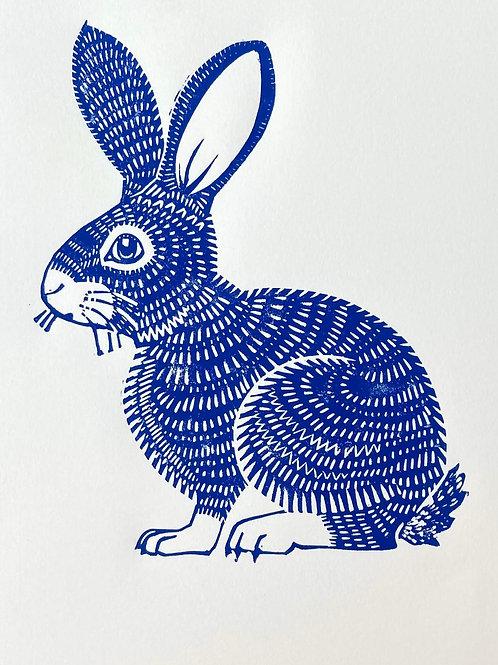 Brigid Blue Bun - handmade linocut print by Ingrid Nilsson, easter bunny