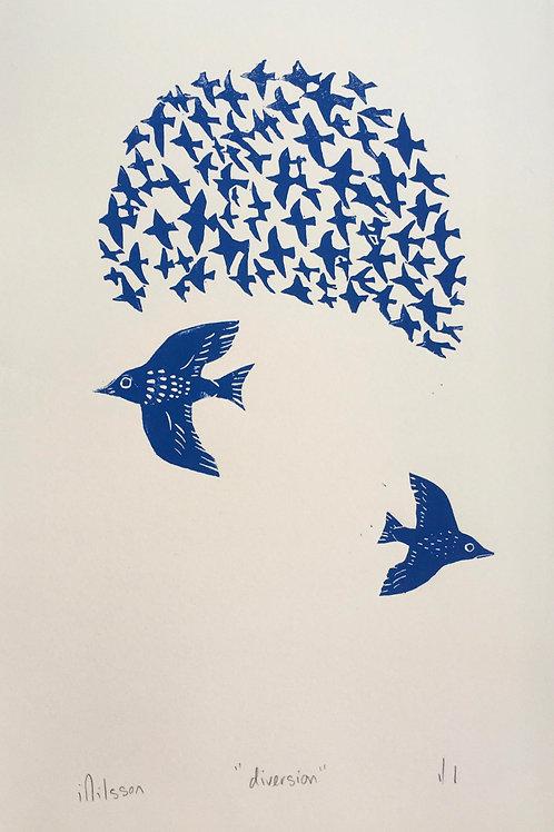 Diversion - handmade and printed lino cut