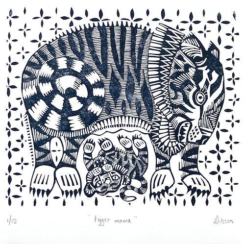 Tyger mama - hand made lino cut print by Ingrid Nilsson: tiger,  wall art,