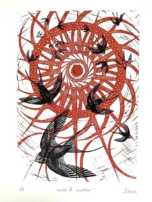 Swish of swallows - handmade lino cut print, prints,  illustration, birds