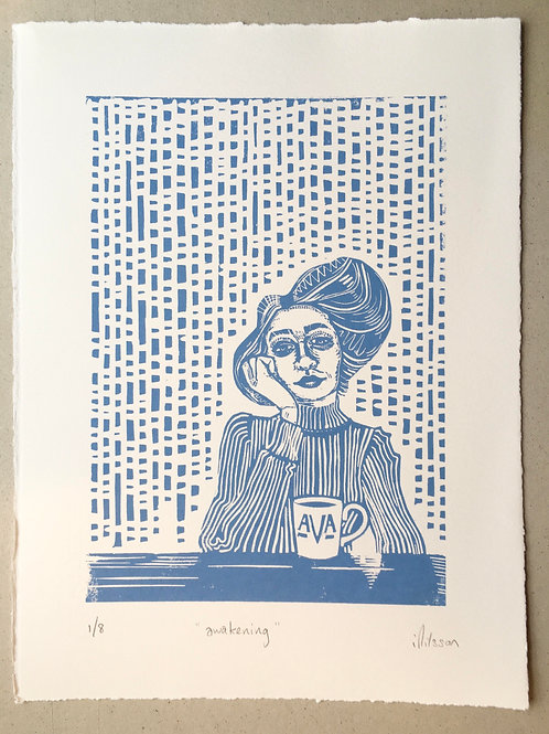 Awakening - handmade and printed lino cut