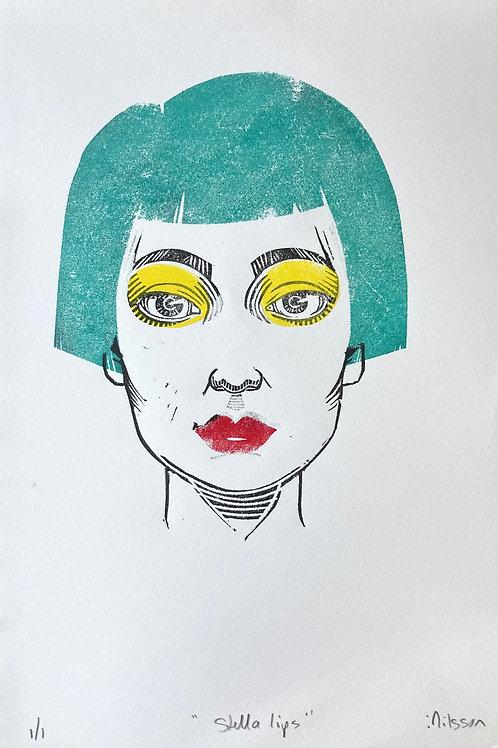 Stella lips - one-off handmade linocut print
