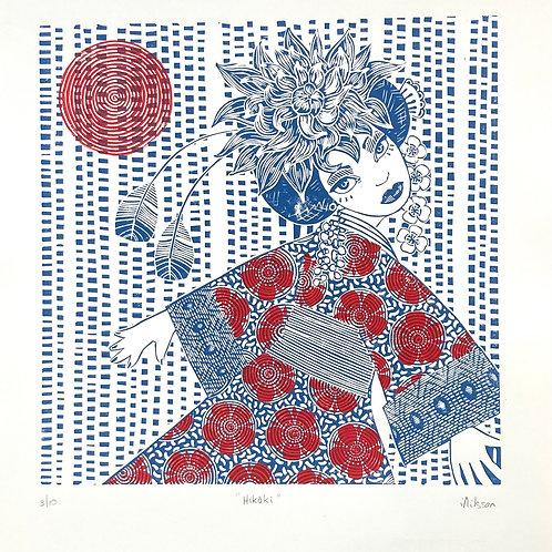 Hikoki - hand made lino cut print by Ingrid Nilsson, geisha, illustration