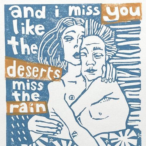 Missing - handmade lino cut print by Ingrid Nilsson, emotion, hug, couple