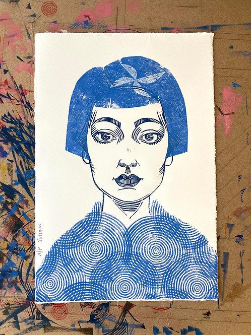 Stella circles - one-off handmade linocut print
