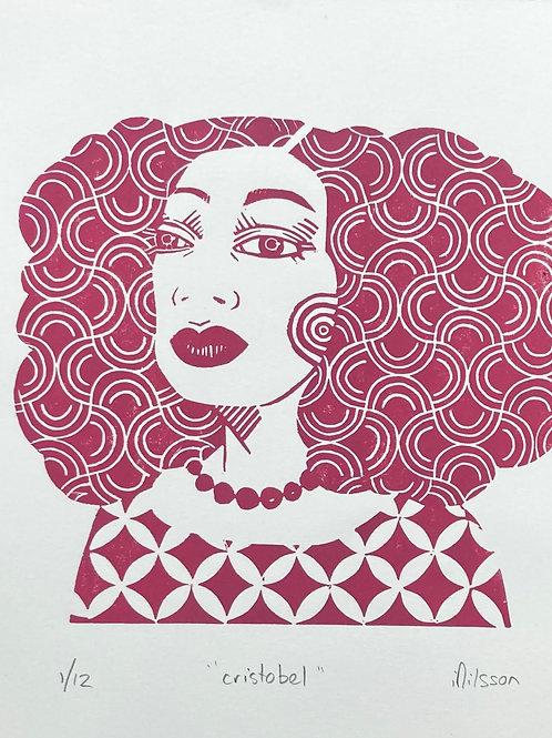 Cristobel pink- hand made, blue & white, lino cut print, wall art, illustration