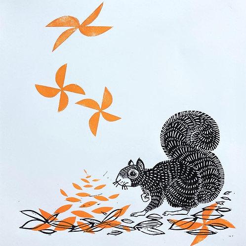 Falling - handmade lino cut print