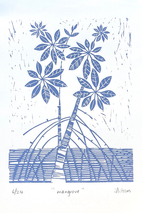 Mangrove - hand made by Ingrid Nilsson: blue & white, lino cut print, wall art,