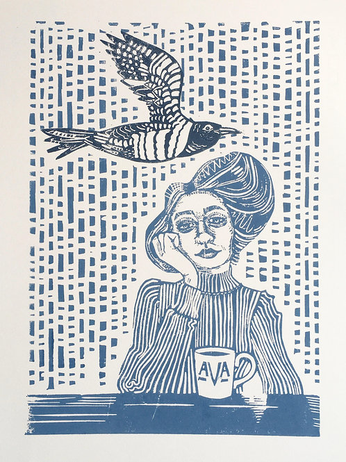 Ava and the cuckoo - handmade and printed linocut