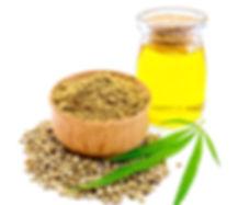 Hemp flour in a bowl, green leaf cannabi