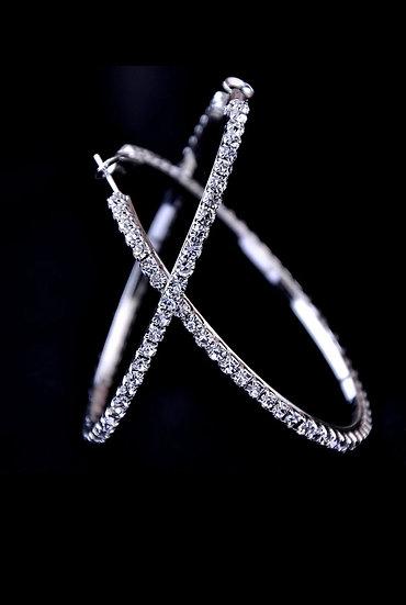 Silver Rhinestone Hoop Earrings