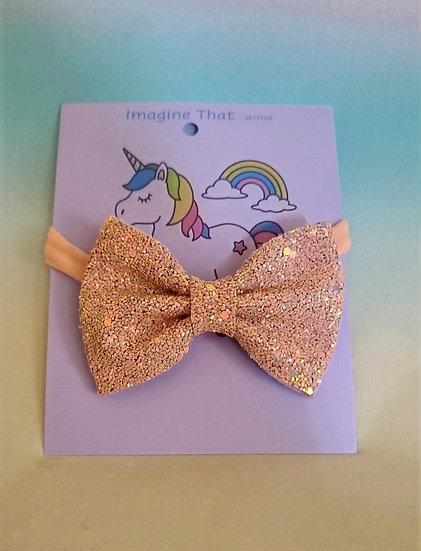Infant Peach Sparkles Bow