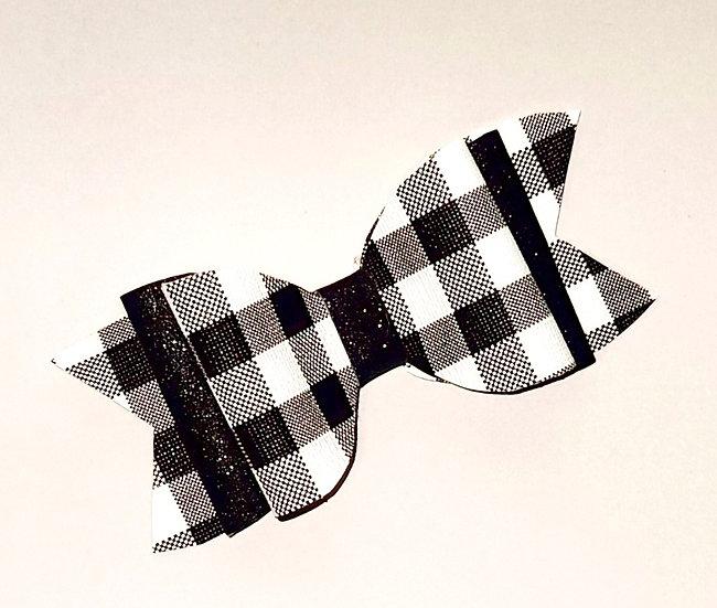 Black & White Plaid Bow