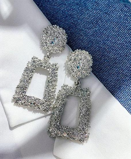 Modern Square Earrings Silver