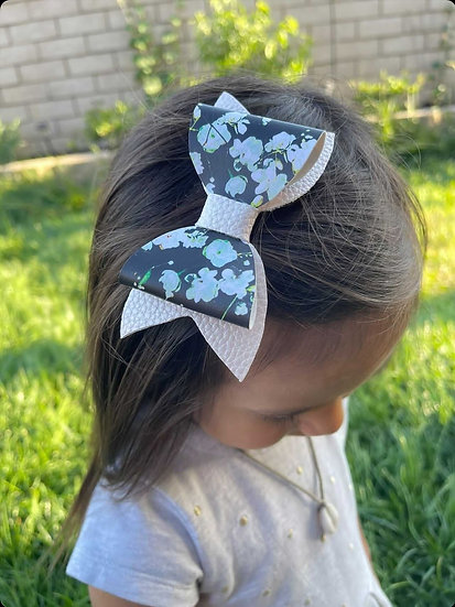 Black and Pink Flower Bow