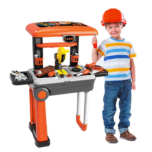 Kids Engineering Workshop with Toolkit Set and Bench.