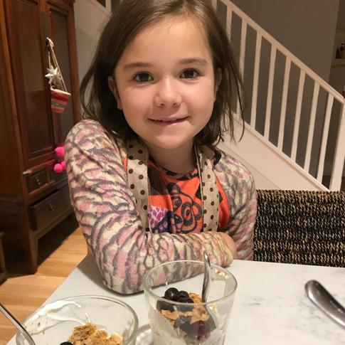 Renata and her Breakfast parfait! Inspired by Yum Club