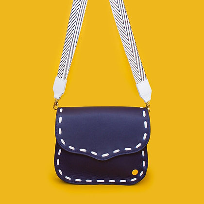 Eugenia Crossbody - Blue with White Stitching