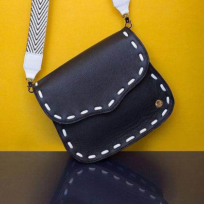 Eugenia Crossbody - Black with White Stitching