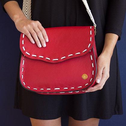 Eugenia Crossbody - Red and White Stitching