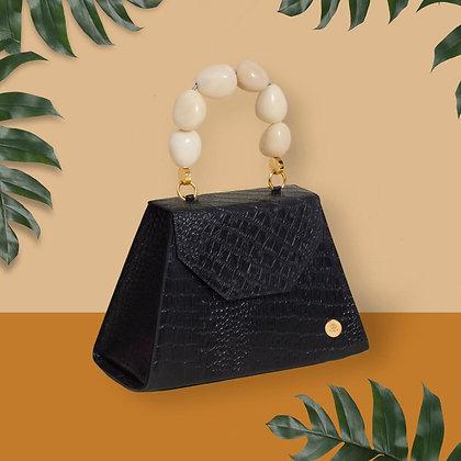 Emilia Bag - Black + White Handle