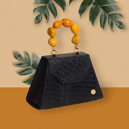 Emilia Bag - Black + Yellow Handle