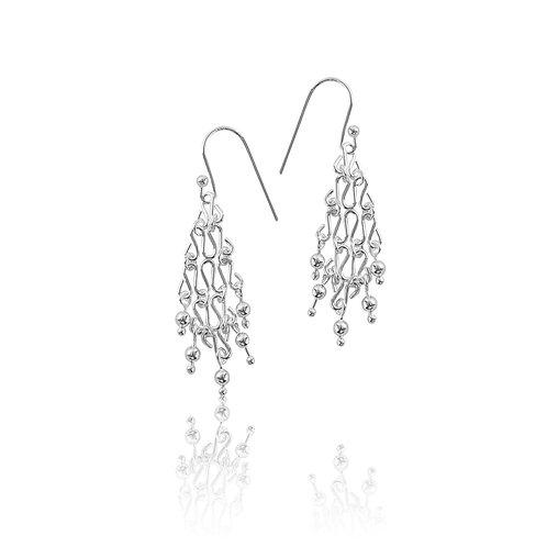 Sterling Silver Modern Drop Cascade Earrings