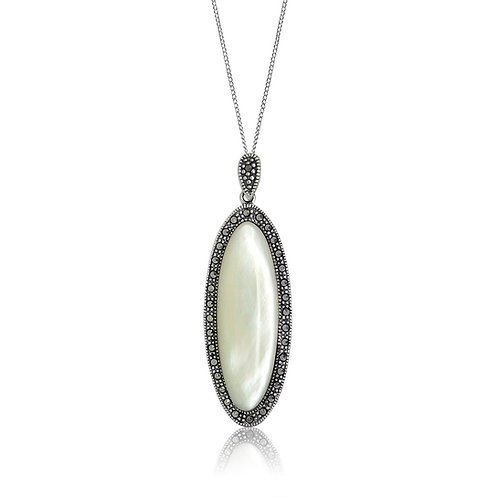 Silver Marcasite and Mother of Pearl oval Pendant
