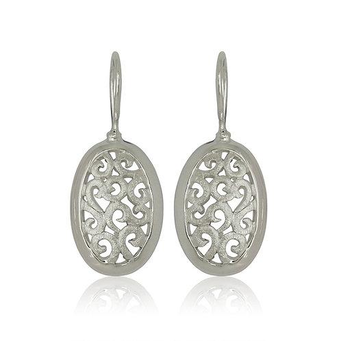 Sterling Silver Ajour Oval Earrings