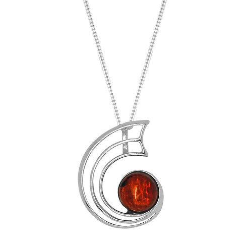 Sterling Silver Curl with Round Amber Stone Pendant