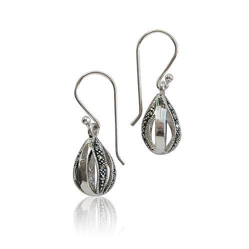 Silver Marcasite bomb drop Earrings
