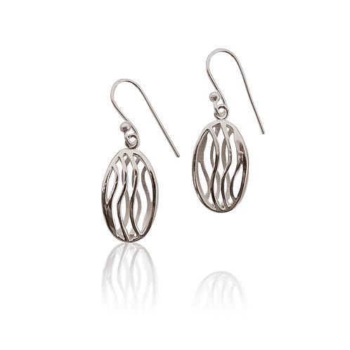Sterling Silver Wave Effect Drop Earrings
