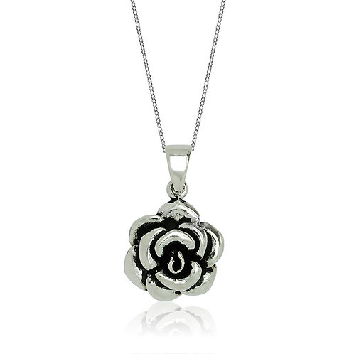 Sterling Silver Oxidised Rose Pendant