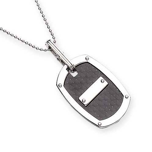 Stainless Steel Carbon Fibre Dog Tag Pendant