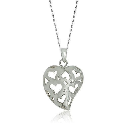 Sterling Silver Cut Out Heart Pendant