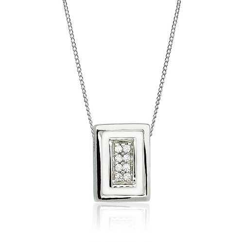 Sterling Silver Rectangular Pendant with Cubic Zirconia