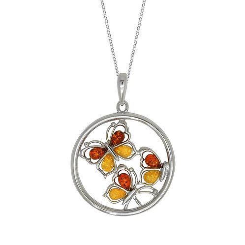 Sterling Silver Lemon and Cognac Amber 3 Butterfly Pendant